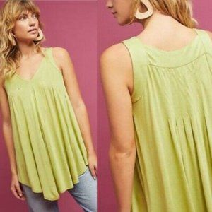 NEW ANTHROPOLOGIE Pleated Swing Tank Green Blouse